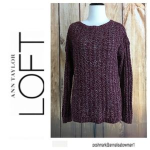 💙Ann Taylor Loft burgundy knit pullover sweater